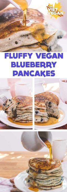 Epic, wonderfully fluffy vegan blueberry pancakes!
