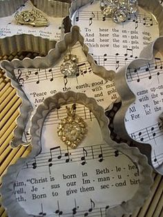 Sheet music and cookie cutters...so pretty