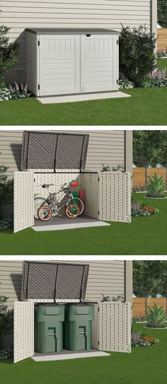 This small storage shed is just the right size to store your bicycles safely or to hide garbage cans. It won't take up a lot of room from your backyard or side yard or spoil the look of your home. (back yard storage) Shed Storage, Small Storage, Garage Storage, Diy Storage, Creative Storage, Garbage Can Storage, Bike Storage Small Space, Bicycle Storage Shed, Backyard Storage Sheds