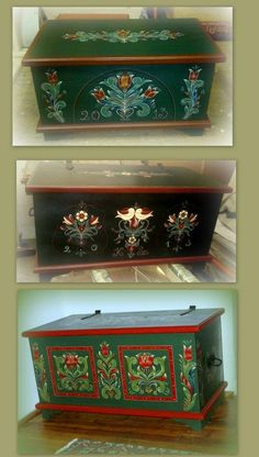 Painted Trunk, Painted Chest, Painted Boxes, Hand Painted Furniture, Paint Furniture, Home Decor Furniture, Furniture Makeover, Trunk Makeover, Rosemaling Pattern