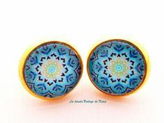 Pendientes botón dorados - REF.01 de La Tienda Vintage de Kima por DaWanda.com