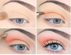 Pastel pink peach eye makeup/ eyeshadow blending, pale, eyebrows, brow shape