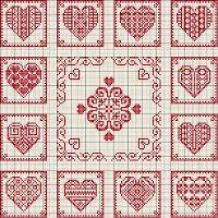 De Borduurvrouw: Borduurpatronen Harten en Valentijnsdag