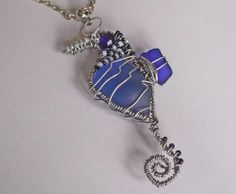 Blue sea glass seahorse pendant. Wire wrapped seahorse necklace Beach sea glass jewelry.