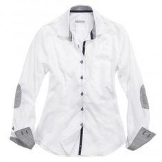 Camicia bianca a tinta unita con toppe sui gomiti grigie.   Seguici anche su                           www.redisrappresentanze.it