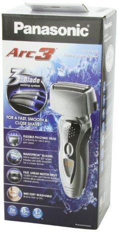 Panasonic PAN-ES8103S Wet/Dry Washable Shaver with Arc3 3-Blade Nanotech Blades…