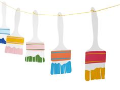 Make this quick and colorful paintbrush garland using paper and paint!