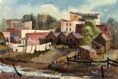 Washday, 1935, a California watercolor by Phil Dike