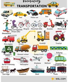 Learn common vehicles vocabulary in English. A vehicle is a mobile ma… Learn the common vocabulary of vehicles in English. A vehicle is a mobile machine that transports people or goods. Typical vehicles are … English Verbs, Kids English, English Vocabulary Words, Learn English Words, Grammar And Vocabulary, English Writing, English Study, English Lessons, English Grammar