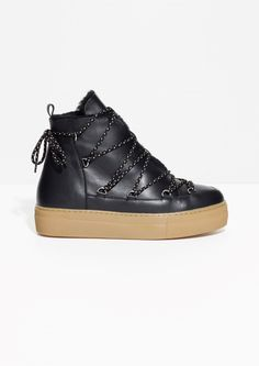 & Other Stories image 1 of Leather Snow Boots in Black