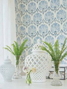 Turkish Damask by Thibaut - Blue / White : Wallpaper Direct Kitchen Wallpaper, Bathroom Wallpaper, Room Wallpaper, Thibaut Wallpaper, Thibaut, Geometric Shapes Wallpaper, Thibaut Wallpaper Bathroom, Blue And White Wallpaper, Textured Wallpaper