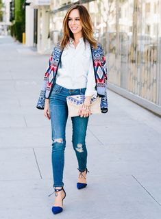 Inspired By Olivia Palermo's Denim on Denim & Embroidered Jacket