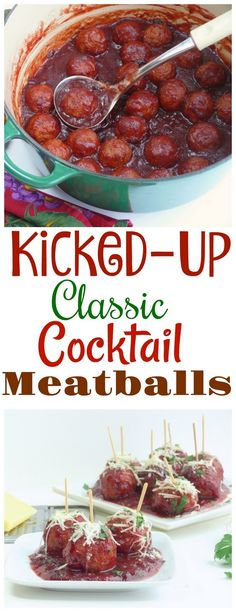 These Kicked-Up Classic Cocktail Meatballs are the perfect balance of sweet, spice and heat. Everyone will be reaching for seconds and thirds. Can be made on the stove-top or in the slow cooker. Beef Recipes, Cooking Recipes, Top Recipes, Meatball Recipes, Drink Recipes, Cocktail Meatballs, Good Food, Yummy Food, Fun Easy Recipes