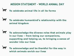 World Animal Day Mission Statement Pet Day, Animals Of The World, Cat Love, Have Fun, Life, Animal Kingdom, Cruelty Free, Blessing, October