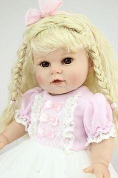 Neueste 18 zoll Vollvinylsilikon Amerikanischen Puppe Mädchen Toys Lebensechte Hobby Lange Goldene Perücke Realistisch Handgemachter Echtes Baby Puppe(China (Mainland))