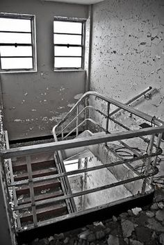 Stairwell inside an abandoned power plant.
