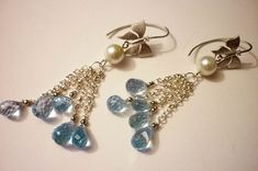 Materials: blue topaz, silver-plated fittings, pearls, rhodium-plated, topaz, silver Size: 6.5CM ##handmade Topaz Earrings, Silver Earrings, Pearl Earrings, Drop Earrings, Blue Topaz, Silver Plate, Pearls, Handmade, Jewelry