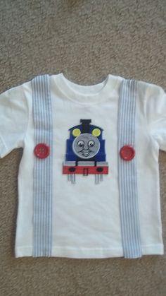 Boys Thomas the Train Suspenders T shirt by kwatson2010 on Etsy, $22.00