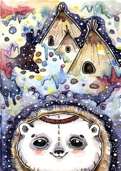 Author's drawing. Northern Bear. Print on natural от LullabyForFox