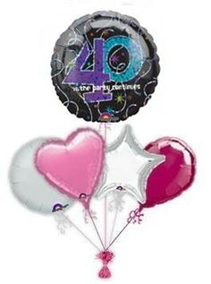 """Celebrate that milestone age with lovely """"Fierce, Fabulous And Forty!"""" birthday balloon delivery or balloon bouquets. Lovely helium filled birthday balloons by post delivered by free balloon delivery. Birthday Balloon Delivery, 60th Birthday Balloons, 40th Birthday, Birthday Ideas, Birthday Cards, Happy Birthday, Princess Balloons, Disney Balloons, Helium Balloons"""