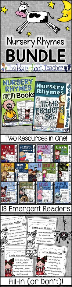 Keep Nursery Rhymes alive with this set of Nursery Rhymes Poetry Books and Emergent Readers (with matching class posters)! 13 emergent readers break down each rhyme one line at a time for easy reading. 27 Nursery Rhymes included!
