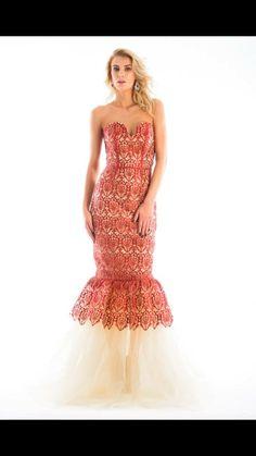 Red carpet Siren dress Emboidery