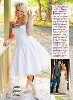 Miranda Lambert and Casadei Custom Satin Cowboy Boots. Little too much but I love white boots