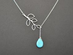 Turquoise teardrop and branch neckalce.
