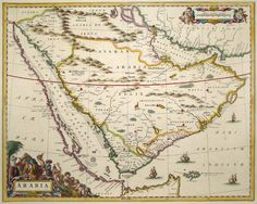 vintage maps   Antique map of Arabia (Maior only) by Blaeu