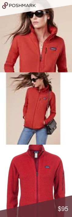 """Red Patagonia Zip Up Better Sweater Cherry red Better Sweater by Patagonia.  In EUC from smoke-free home.  Cover shot is from stock image and color is not quite the same. My pictures are pretty true to the color of this jacket.  Size small.  Measurements are 14.5"""" shoulder to shoulder, 23"""" long, and 23.5"""" long sleeves. This color is not sold in stores any longer. Patagonia Jackets & Coats Utility Jackets"""