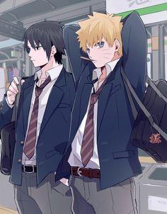 High School Sasuke and Naruto Naruto Shippuden Sasuke, Naruto Kakashi, Sasunaru, Anime Naruto, Naruto Boys, Naruto Cute, Narusasu, Naruhina, Hinata