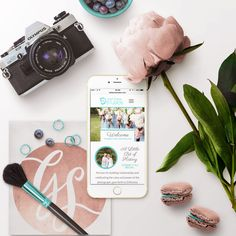 Flatlay Mobile View | Wedding Photographer Portfolio site for D'Attoma Studios | Designed by Gillian Sarah | Created through ShowIt | Flat Lay Inspiration