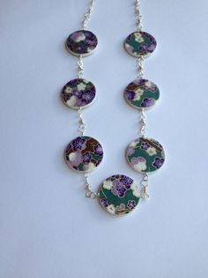 Handmade Paper bead necklace in purple blossom by ThePaperFuchsia