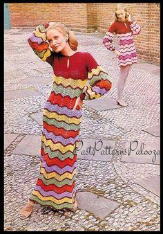 9a9bf255cb0 Vintage Crochet Pattern Womens Zig-Zag Chevron Stripe Long Maxi or Short  Mini Dress PDF Instant Digital Download Hippie Gypsy Chic 5 Ply DK