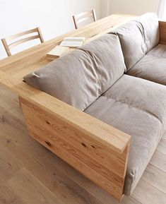 INSTEAD OF CHAIRS BEHIND THE COUCH add an island with stove and cabinets. Counter/Sofa - even if it was just a skinny width table up against the back of the couch with a chairs; thinking for a family/den/basement room idea Diy Sofa, Cool Furniture, Furniture Design, Furniture Plans, Furniture Movers, Coaster Furniture, Dining Furniture, Furniture Makeover, Deco Design