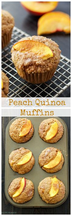 Peach Quinoa Muffins | Fresh peaches taste so good in these healthy protein packed quinoa muffins!