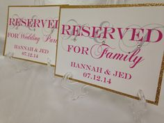 Glitter Wedding Table size 5x7 RESERVED Sign Display by ELDNYC ...