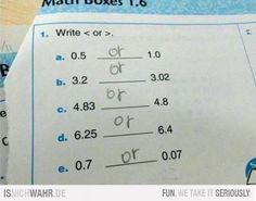 write < or >