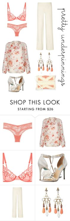 """""""Untitled #5245"""" by im-karla-with-a-k ❤ liked on Polyvore featuring Cosabella, Monsoon, La Perla, Betsey Johnson, Helmut Lang, Miriam Haskell and Antonello Tedde"""