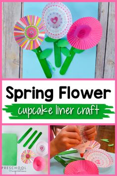 Spring is here and it's time to enjoy some pretty flowers. This simple cupcake liner flowers craft is great for preschoolers and kindergartners to make. All they need are a few craft supplies and they can make it on their own. These flowers would be perfect as gifts or decorations for around the house. Cupcake Liner Crafts, Cupcake Liner Flowers, Cupcake Liners, Spring Activities, Art Activities, Toddler Activities, Preschool Garden, Preschool Crafts, Spring Cupcakes