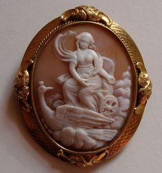 Rare Victorian Shell Cameo - Greek Goddess Hera with Peacock from nectarjewels on Ruby Lane