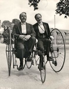 Robert Morley and Maurice Evans ride a bike.Robert Morley Maurice Evans Gilbert and Sullivan British Lion Film Corporation 1953