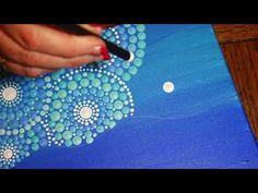 The Mermaid by Kristin Uhrig - This tutorial will show you how to combine a dot mandala background on a canvas with a paper decoupage mermaid and crystals to create a shimmering piece of ready-to-hang art Mandala Art, Mandala Canvas, Mandala Rocks, Mandala Design, Aboriginal Dot Painting, Dot Art Painting, Painting Patterns, Fabric Painting, Dandelion Painting