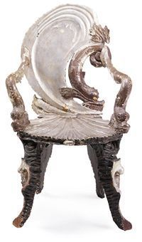 Love a chair with attitude...a Venetian painted and parcel-gilt grotto armchair. Circa 1900