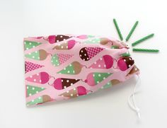 Ice Cream Party Favor Bags / Birthday Goody Bags / Fabric Goodie Bags / Cone Treat Bags / Cloth Gift Bags / 6.25 x 9.5 inches / Set of 5. $21.00, via Etsy.