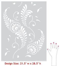 Large Feathered Damask Stencil