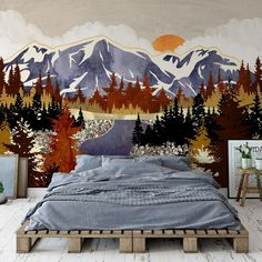 Who else is completely ready for fall? Think beautiful autumn leaves, cosy interiors and warm nights in by the fire and this cosy landscape are just what you need to get you in the Autumnal mood! Want to get your home ready for fall? Dark interiors are the way to go! Pick one wall and feature a dark wallpaper for a strong statement 🖤 Style with wooden furniture for a rustic farmhouse vibe and you'll be all ready to snuggle up at home in style!