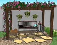 The wooden pergola is a good solution to add beauty to your garden. If you are not ready to spend thousands of dollars for building a cozy pergola then you may devise new strategies of trying out something different so that you can re Cheap Pergola, Wooden Pergola, Backyard Pergola, Pergola Plans, Backyard Landscaping, Pergola Kits, Pergola Ideas, Pergola Screens, Pergola Lighting