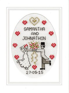 This Wedding cross stitch card kit contains: Large card (200mm x 148mm), envelope, 14-count Aida fabric, needle, pre-sorted DMC threads,