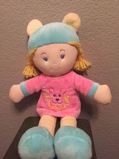 "Kids Preferred Baby Girl Doll Pink Blue Velour Plush Toy 14"" Teddy Bear Dress #KidsPreferred"